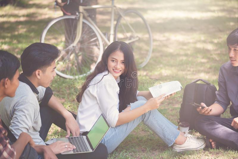 Group of university students working outside together in campus, Happy Diverse students team concept. royalty free stock images