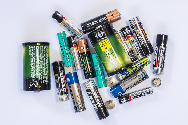 Group of used batteries royalty free stock image