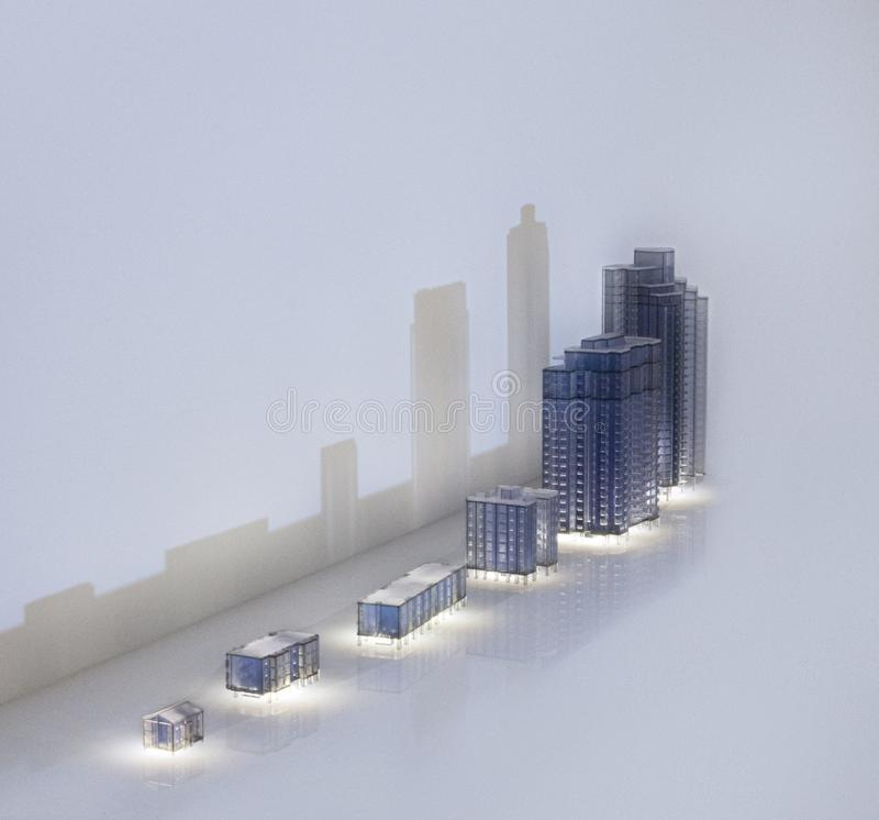 Group of various Architecture miniature models. City view stock images