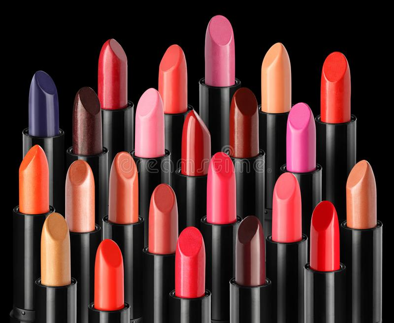 Group of various fashion lipsticks royalty free stock image