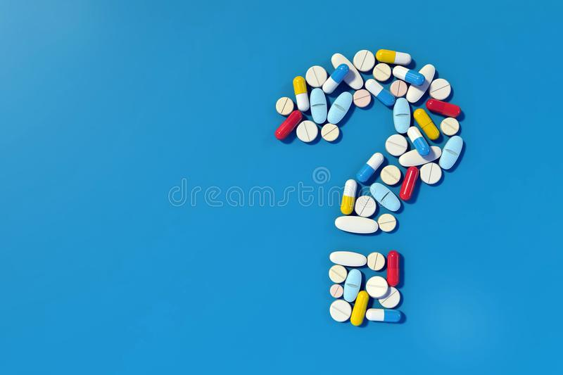 Various medicine pills arranged as question mark. Group of various medicine pills arranged in the shape of a question mark. Closeup, very high resolution image vector illustration