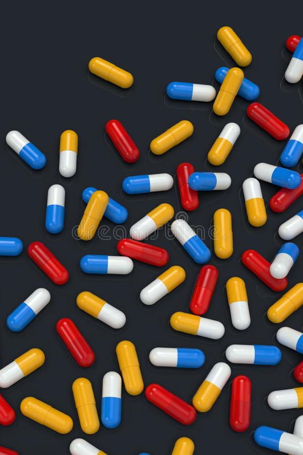 Colorful medicine capsules on dark background. Group of various medicine pills capsules randomly positioned. Close-up, very high resolution top view. Colorful royalty free illustration