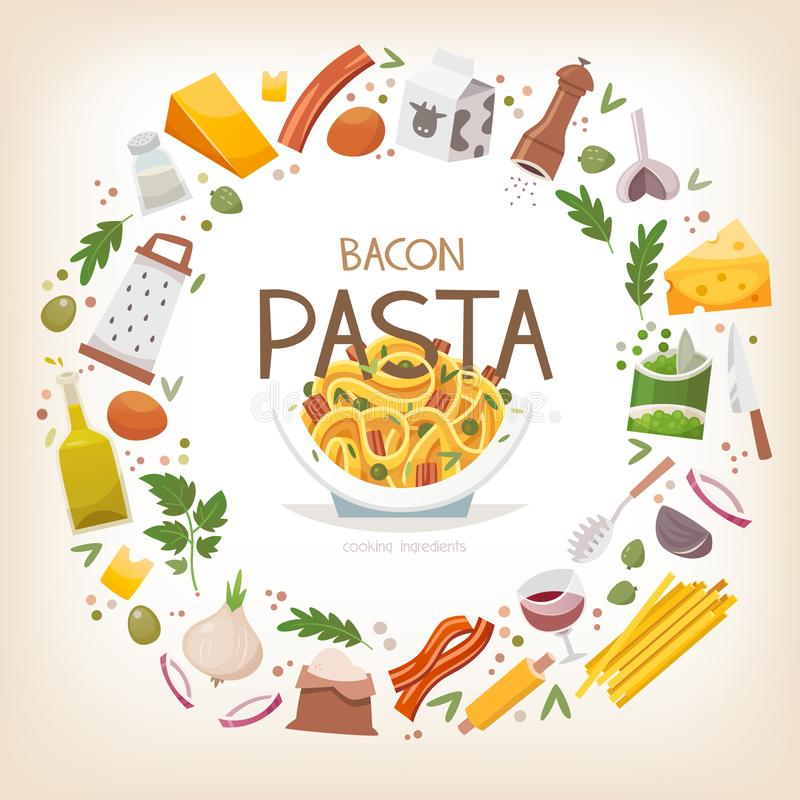 Group of vegetables, dairy products and pasta ingredients arranged in circle border around pasta with peas and bacon dish in plat vector illustration