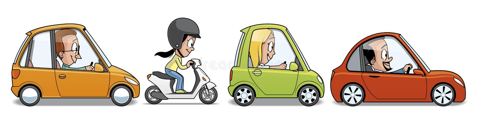 Group of vehicles stock illustration
