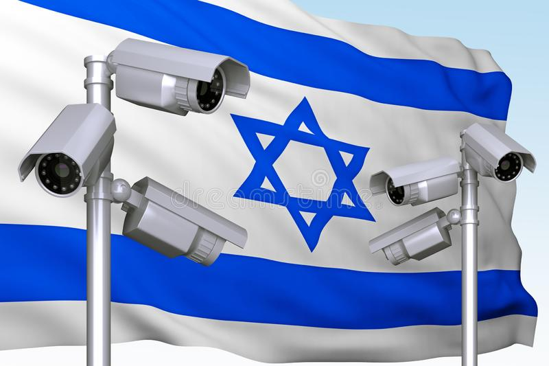 Group of video cameras on background of flag of Israel royalty free stock photos