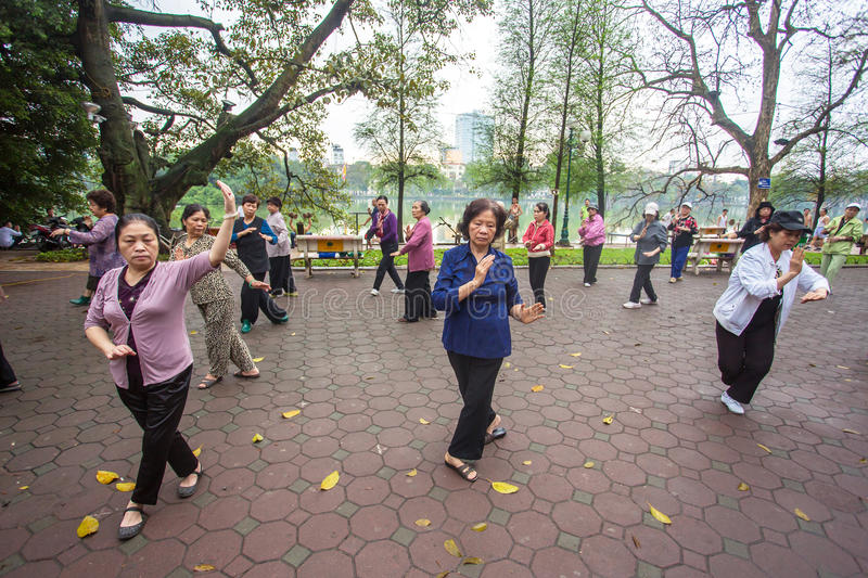 Group of Vietnamese seniors practice Tai Chi royalty free stock images