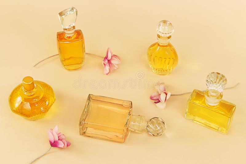Group of the vintage perfume royalty free stock photo
