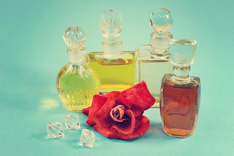 Group of the vintage perfume stock photos