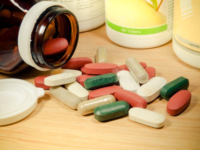 Group of Vitamin,Vitamin,drug,multivitamin,herbal supplement cap stock image