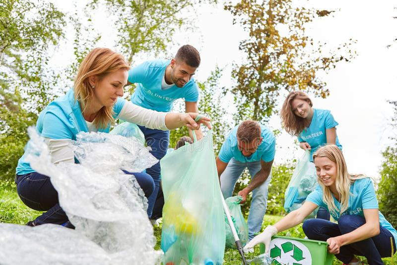 Group of environmentalists collects waste. Group of volunteer environmentalists collects waste in a conservation project stock photos