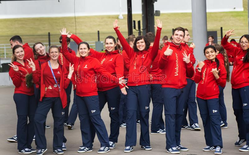A group of volunteers at 2018 FIFA world cup in Russia is dancing royalty free stock images