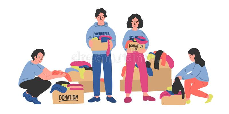 Group of volunteers sorts out clothes in cardboard boxes. Clothes donation. Group of volunteers sorts out clothes in cardboard boxes. Woman and man holding stock illustration