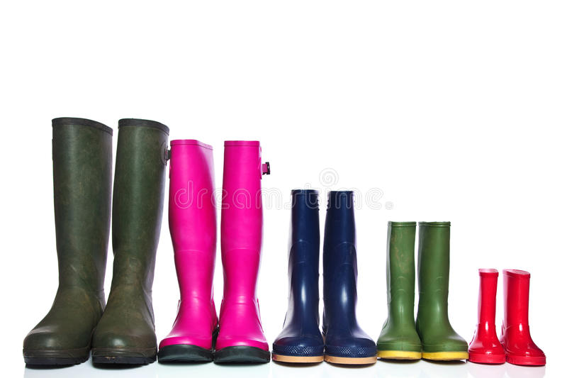 Group of wellie boots stock image