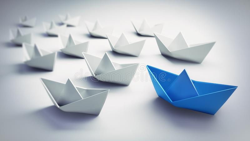 Group of white and blue paper boats   - 3D illustration royalty free illustration