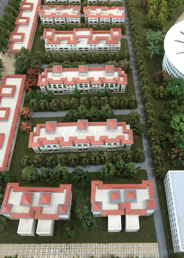 A group of white buildings and community model.  royalty free stock image