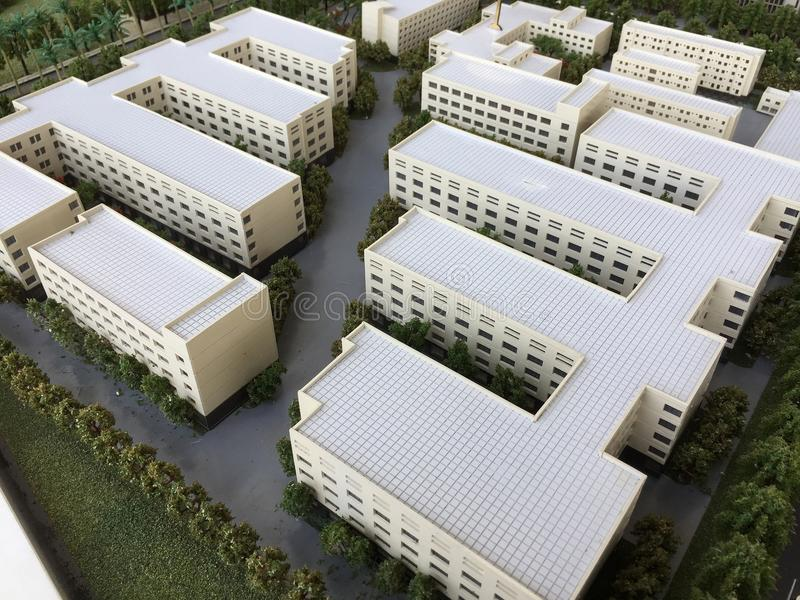 A group of white buildings model.  stock photos