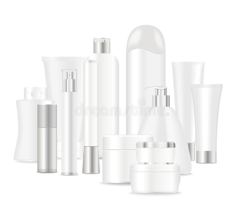 Group of white cosmetic tubes. Group of cosmetic tubes isolated on white. Place for your text. Vector royalty free illustration