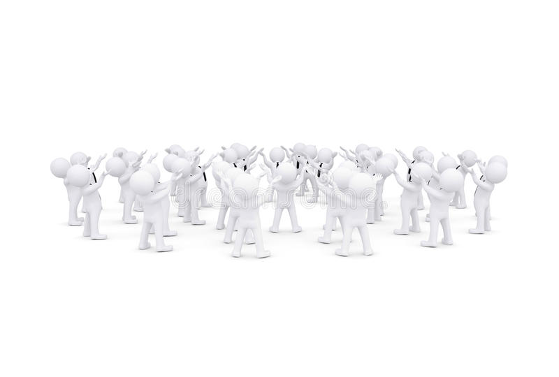 Download Group Of White 3d People Raised Their Hands Stock Illustration - Image: 32664316