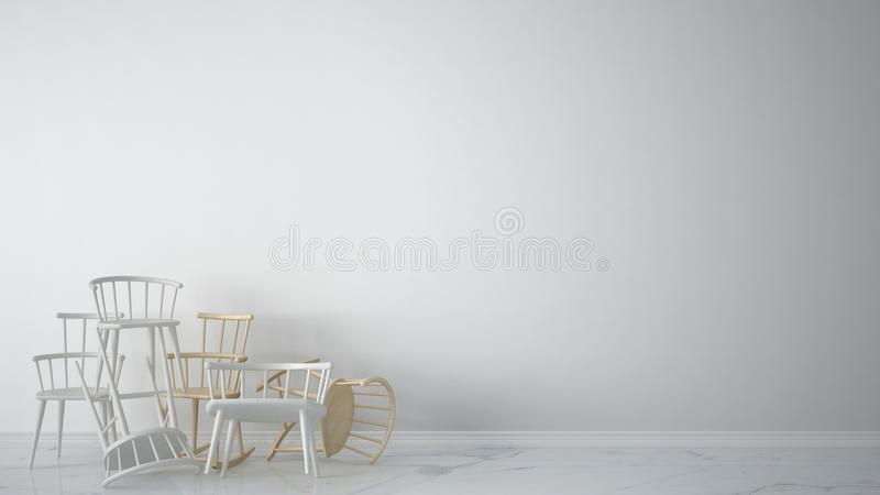 Group of white modern scandinavian classic and rocky chairs stacked up in contemporary empty interior with marble floor, architect. Designer concept, blank vector illustration