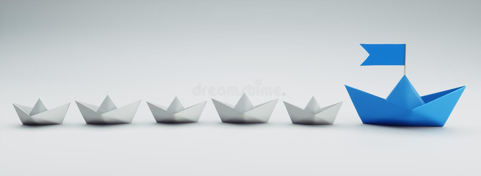Group of white and blue paper boats - 3D illustration stock illustration