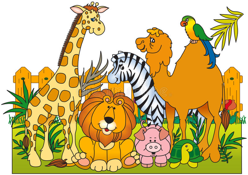 A group of wild animals stock illustration