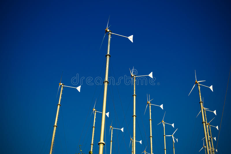 Group of wind turbine generator. With blue sky stock images