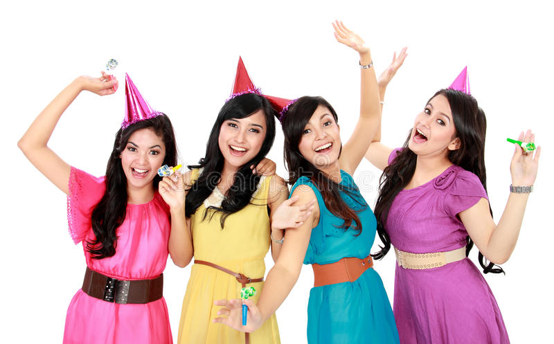 Group Of Woman Celebrating New Year Royalty Free Stock Photos