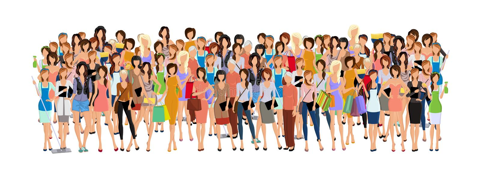 Group of woman. Large group crowd of different age women female professionals businesswomen vector illustration vector illustration