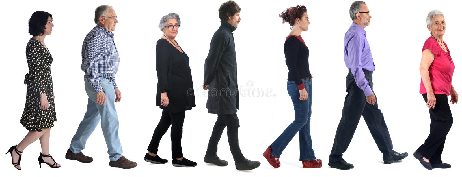 Group of woman and men walking on white royalty free stock photo
