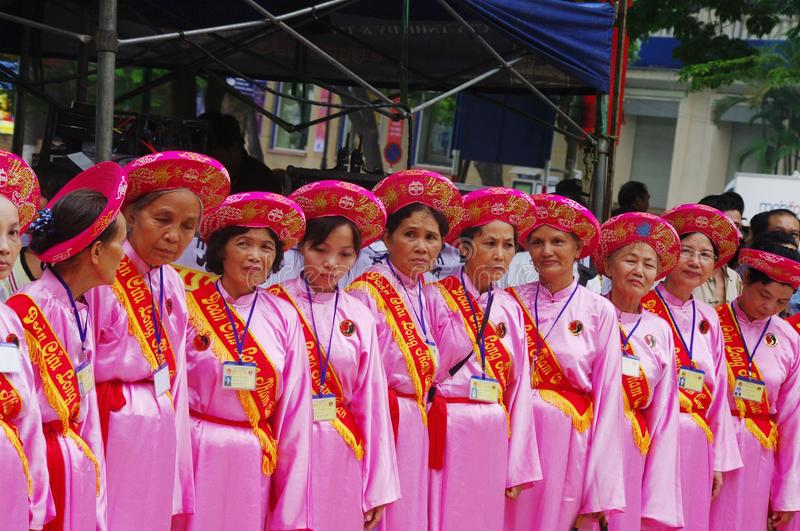 Group of women in Ao Dai stock image