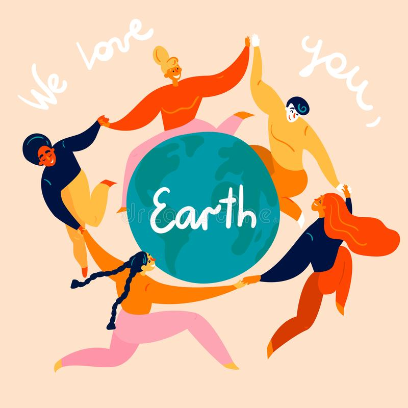 Group of women is dancing around the Earth globe royalty free illustration
