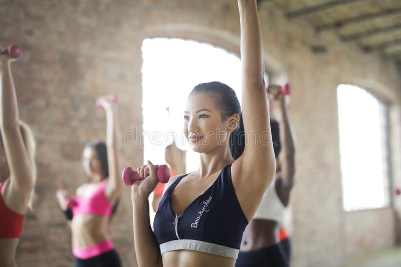 Group of Women Doing Work Out stock images