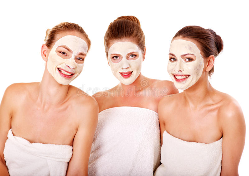 Group women with facial mask. royalty free stock photography