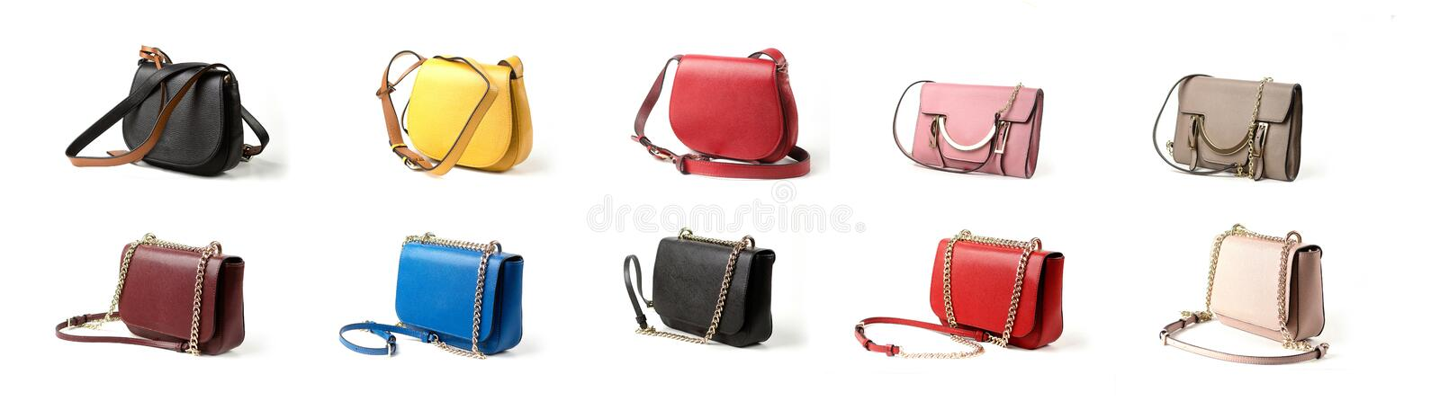 Group of women leather handbag isolated on white background stock photo