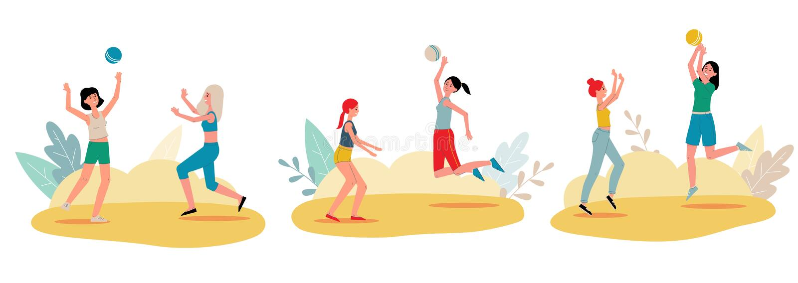 Group of women playing volleyball on beach, flat vector illustration isolated. royalty free illustration