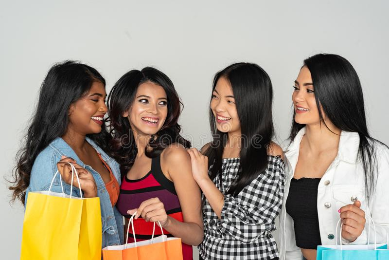 Group of Women Shopping At The Mall stock photography