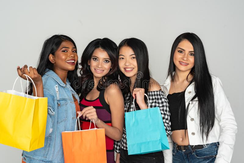 Group of Women Shopping At The Mall stock image