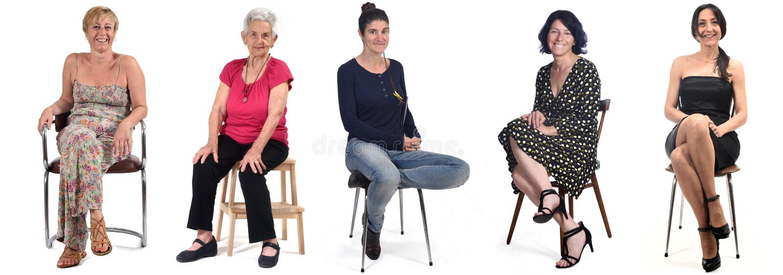 Group of women sitting on chair on white background royalty free stock images