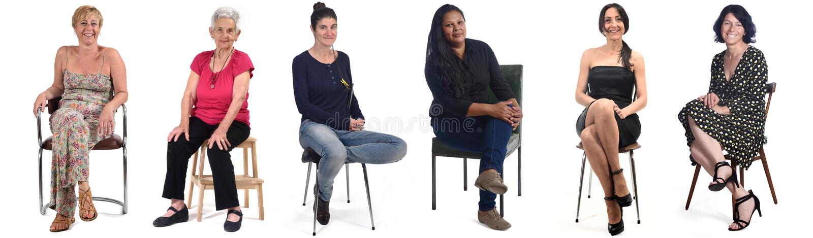 Group of women sitting on chair on white background stock images