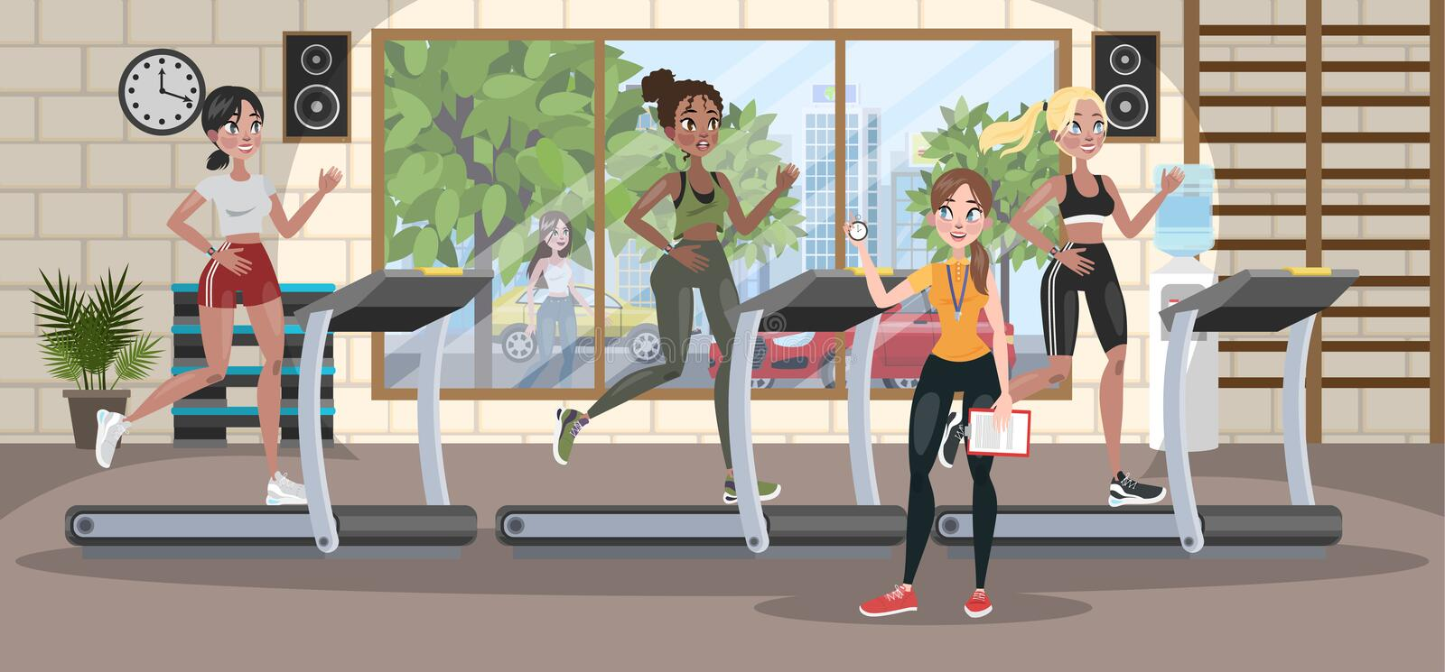 Group of women training on the treadmill. With trainer. Jogging in the gym with special equipment. Vector flat illustration vector illustration