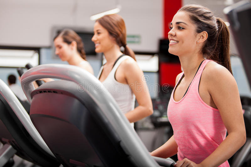 Group of women on a treadmill royalty free stock photo