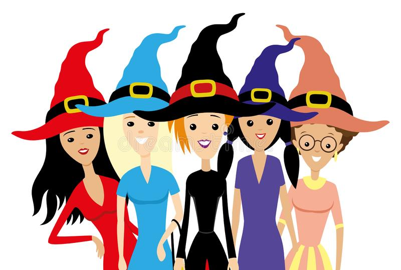 Group of women in witch hats. stock illustration