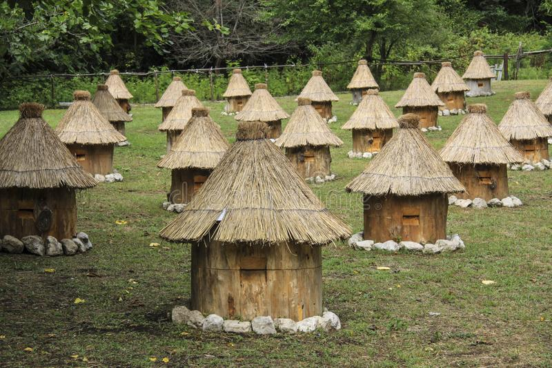 Group wooden bee hives with thatched roof. Glade in outdoor, group wooden bee hives with thatched roof of honey bees on a meadow, located in several rows royalty free stock photography