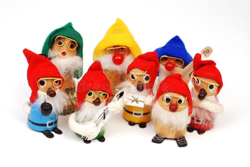 Download Group Of Wooden Christmas Elve Stock Photo - Image: 3464188