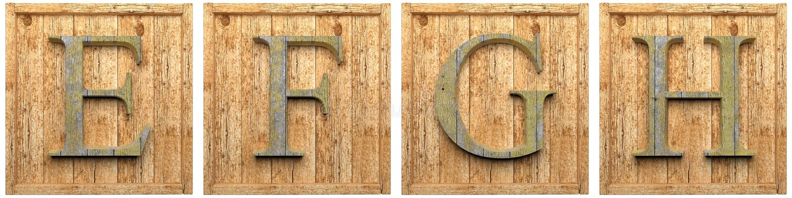 Group of wooden letters E F G H stock illustration