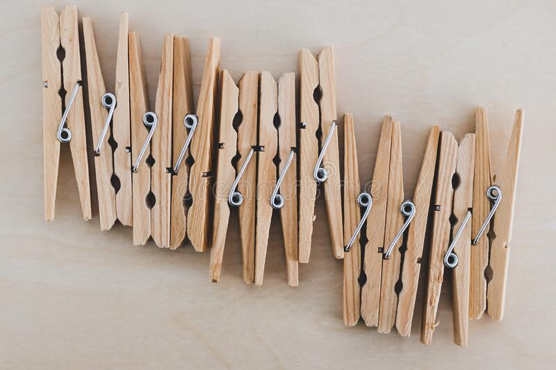Group of wooden peg to hang the washing, sustainable living and alternative to plastic. Group of wooden peg to hang the washing, concept of sustainable living royalty free stock images
