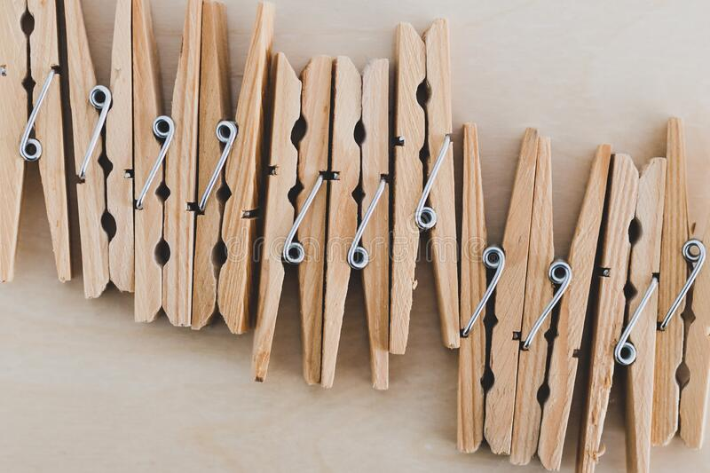 Group of wooden peg to hang the washing, sustainable living and alternative to plastic. Group of wooden peg to hang the washing, concept of sustainable living stock photography