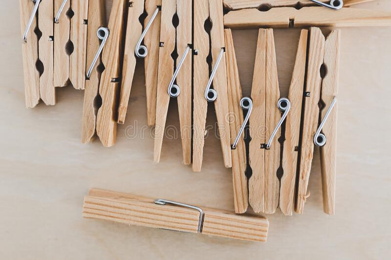 Group of wooden peg to hang the washing, sustainable living and alternative to plastic. Group of wooden peg to hang the washing, concept of sustainable living stock image