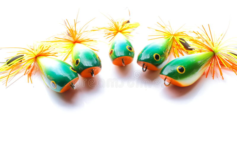 Group of wooden popper bait. Use this set for fish the snake-head fish stock photo