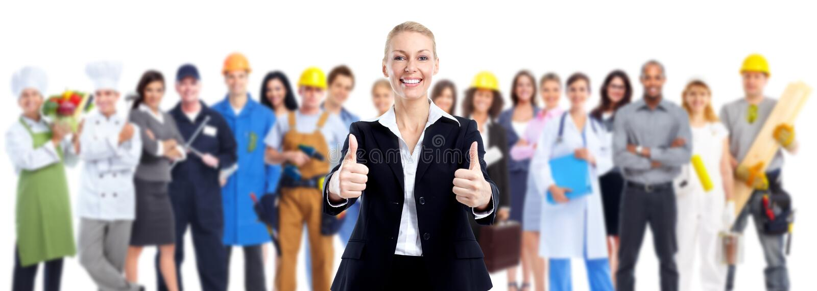 Group of workers people. Group of workers people isolated over white background stock images